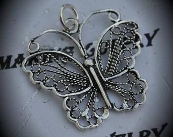Genuine Sterling Silver Filigree Wide Butterfly Pendant