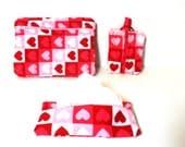 Travel Set - Purse Set - Make Up Bag Set - Heart Make Up Bag - Heart Bag -  Heart Travel   Set - Quilted Purse - Heart Purse - Tissue Cozy