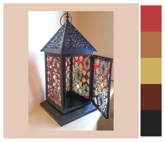 """Stained Glass Lantern - """"Exotic"""""""