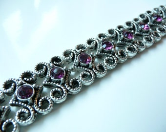 RESERVED for DEB Swarovski Crystal  Antique Silver Plated 2 Hole Slider Bead - 16x11mm - Amethyst - 10 pieces - Purple