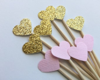 24 Gold and Pink Mini Heart Cupcake Toppers or Food Picks.  Weddings, Bridal Shower or Baby showers.
