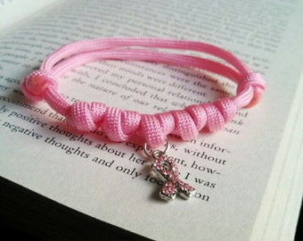 Breast cancer awareness bracelet paracord, adjustable paracord, simple bracelet