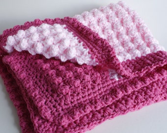 Rose and pale pink handmade  crochet baby blanket/shawl.  Thick luxurious puff stitch. Ideal Christening / shower /new baby girl gift.