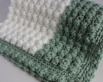 Green and cream  handmade extra thickness crochet baby blanket/shawl. Ideal Christening / shower /new baby gift.