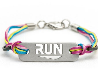 RUN - Running Bracelet: multicolor, black, & pink, Running Jewelry, Run Bracelet, Gifts for Runners, Running Motivation, Running Inspiration