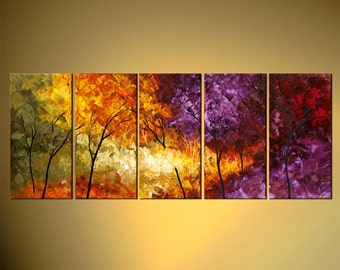 "Original Abstract Contemporary Blooming Tree Acrylic Painting Heavy Palette Knife Texture by Osnat Tzadok  60"" x 24""- MADE-TO-ORDER"