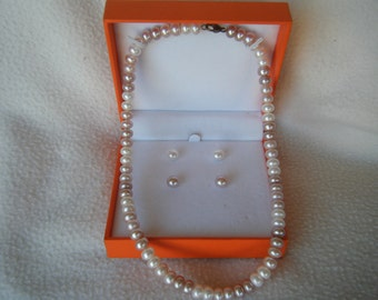 Vintage Cultured Pearl Necklace & Earring Set Circa 1980's