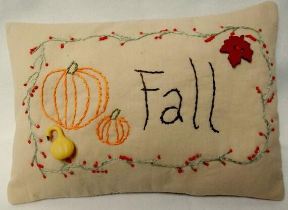 Primitive Embroidered Fall Mini Pillow / Shelf Sitter