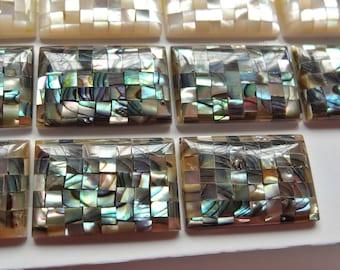 LAST Pair in stock Mosaic Paua Abalone Rectangular Cabochons 12x18 mm J4122