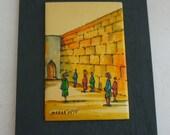 Vintage Judaica signed Madar Aviv enamel painting of Wailing Wall on metal sheet, wall hanging