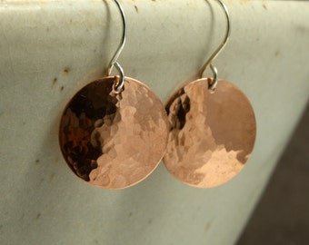Hammered Copper Earrings, Medium Earrings, Copper Disc Earrings
