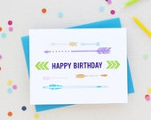 Happy Birthday Colorful Arrows Greeting Card