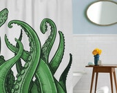 Tentacles Shower Curtain, octopus, going to the beach, in this house we do geek, dorm decor, girls dorm, guys dorm, beach decor