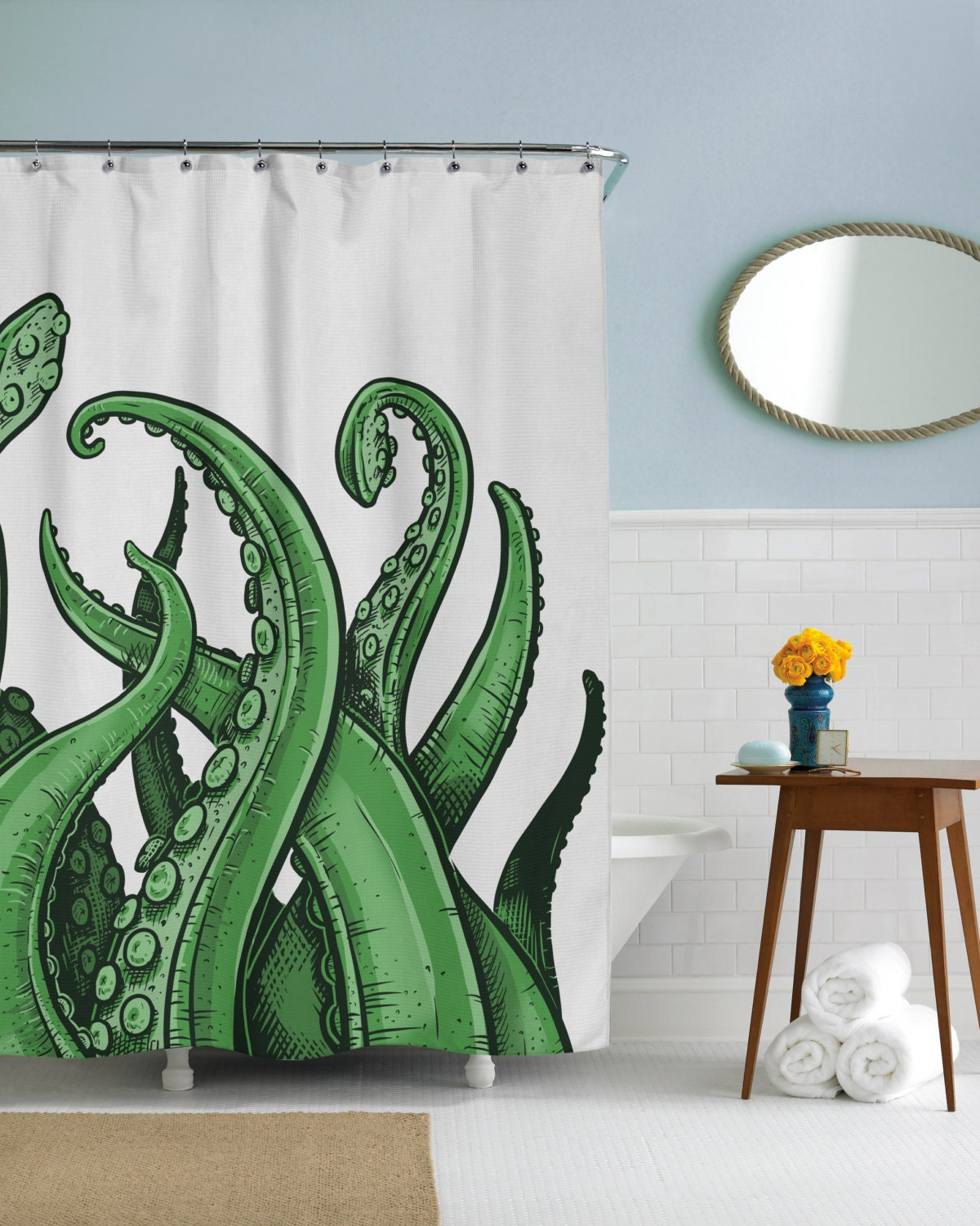 Tentacles octopus beach ocean cool shower by crazydogtshirts for Tentacle shower curtain