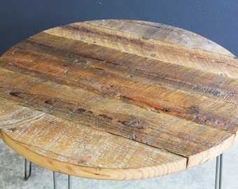 "36"" Round Antique Barnwood Coffee Table with Hairpin Legs"