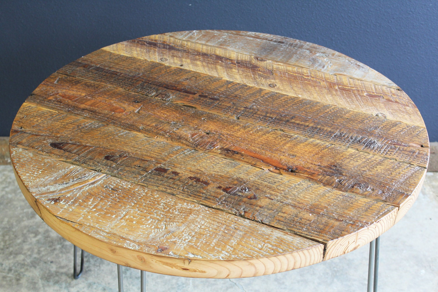 48 Round Antique Barnwood Coffee Table With Hairpin Legs