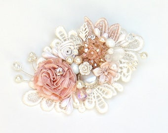 Reserved for Carla-Pink Bridal Hair Comb- Pink Bridal hairpiece-Soft Pink Hair Accessory-Pink Bridal Comb-Pink & Ivory Hair Comb-Ivory Brida