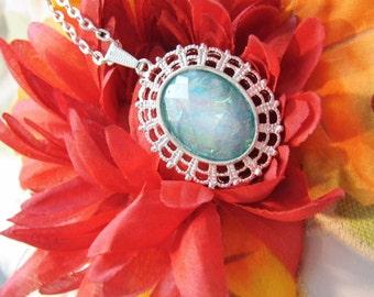 Petiteblue Moonstone opal Cameo Ladies Silver Filegre art designer Necklace Pendant Mothers Day