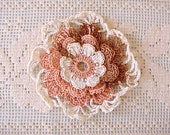 Charming Vintage Crochet Rosette in Peach, Ivory and Mocha - Moonmaidenemporium