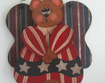 Bear, 4th of July, Patriotic, Americana, angel, bear with wings, wings, wall hanging/decor