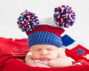 Patriotic Hat / Fourth of July Baby Hat / Newborn Prop / Red White and Blue / American Flag Hat / Military Baby / Custom Color / Pom Pom Hat