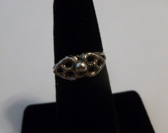 Vintage Silver Size 5 Flower Ring