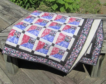 "Small Patchwork Quilt ""Red and Blue Orchids"" Orchid Quilt, Floral Quilt, Lap Throw, Wheelchair Throw, Quilted Blanket, Quiltsy Handmade"