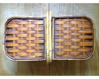 Vintage Wood Picnic Basket - Bentwood Bamboo Wicker Cabin Rustic