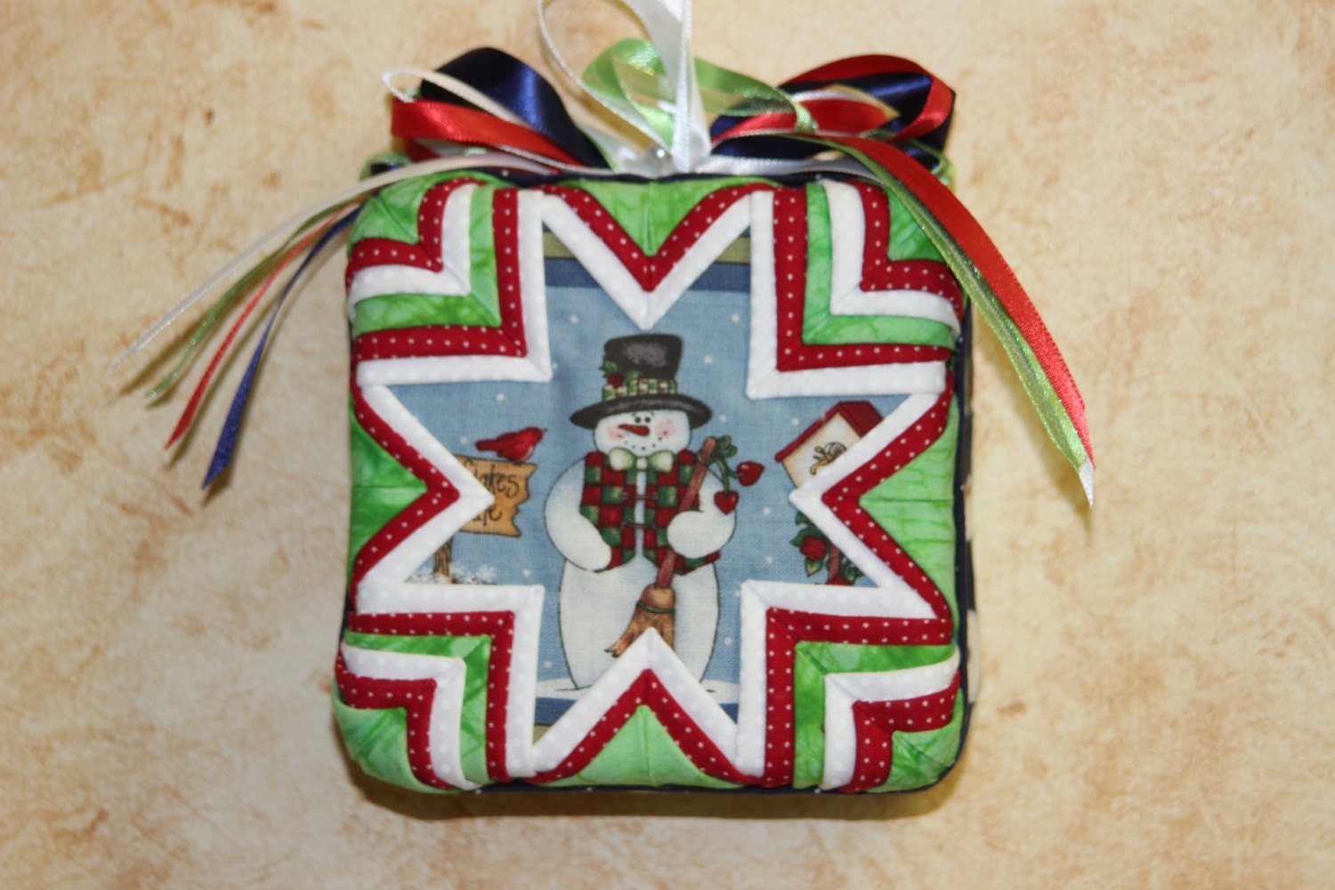 Folded Fabric Snowman Ornament By QuiltersPantry On Etsy