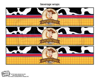 Woody, Toy Story Bottle Labels