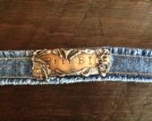 Pray Big- Hand Stamped, Soldered and Etched Metal Denim Bracelet