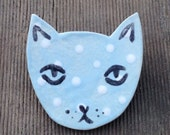 Blue and White Polka Dot Hand Made Ceramic Cat Brooch