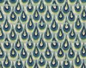 "TWO Curtain Panels, 25"" x 96"" - Navy Blue, Light Blue, Green Peacock, Ikat design"