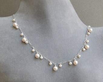 Dancing Pearl Necklace- White Pearls- Delicate Silver Chain- Adjustable