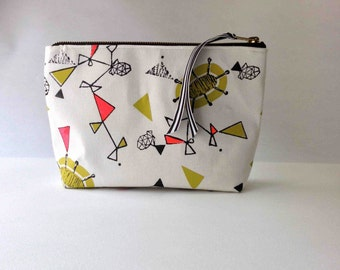 Medium Hand printed Pouch - Atomic Twist