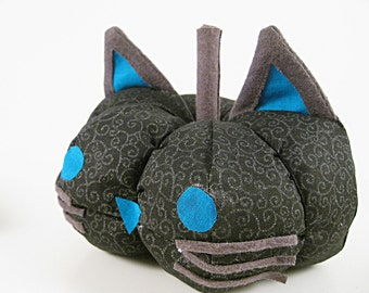 Cat-o-Lantern; Fabric Cat Pumpkin Decoration; Black and Blue with Swirls