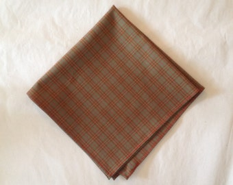 Pocket Square in Brown Plaid
