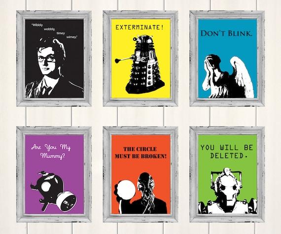 Doctor Who Prints Set of 3, Digital Illustration, Movie Poster, Art Print, Illustration, Original Artwork, Fanart