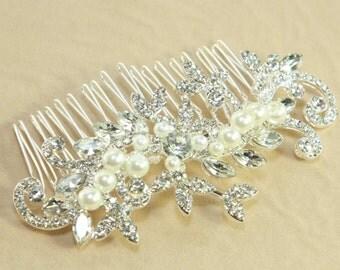 Elegant Vintage Style Long Hair Comb, Swarovski Rhinestone Pearl Crystals Hair Comb, Bridal Hair Comb, Wedding Hair Comb, Hair Accessory