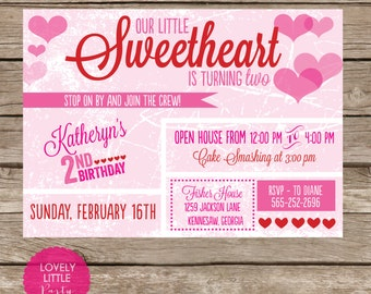 Printable Vintage Valentine Birthday Invitation - Lovely Little Party