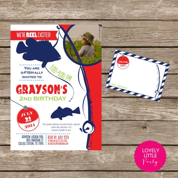 DIY Printable Fish Theme Invitation Kit - Invite AND Thank You Card included
