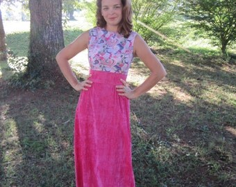 Pink Maxi Dress / 70s Formal Party Dress / 1970s Dress