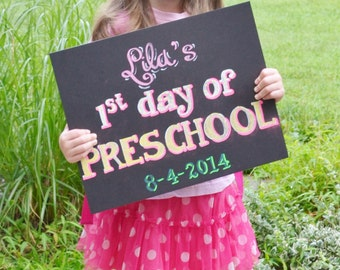 First day of Pre School Handmade hand painted Chalkboard Sign!  Kids 1st day preschool school