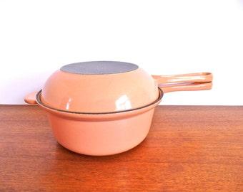 Vintage Pink Peach Le Creuset Sauce Pot Frying Pan Set