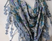 Lace fringe shawl scarf/blue purple floral triangle,women's winter scarf- jersey fabric fringe lace edge scarf-women's scarves2012