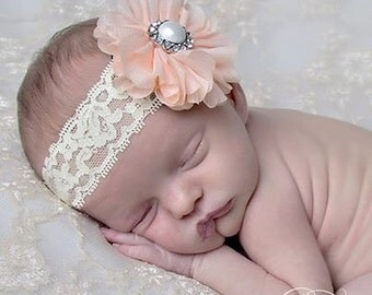 Peach Couture Lace and Chiffon Pearl Headband Newborn Photography Prop Spring Headband