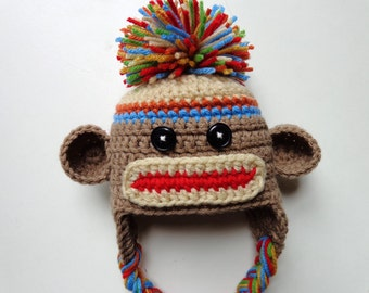 Ready to Ship Newborn Boys Crochet Sock Monkey Hat- Brown, Red, Orange,Yellow, Green and Blue Photo Prop