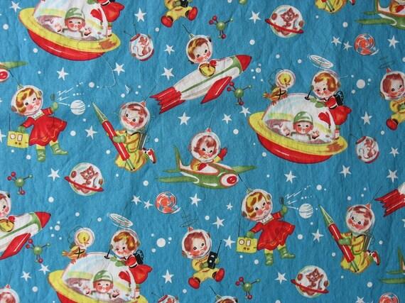 Cotton quilt fabric retro rocket rascals blue fabric space for Space cotton fabric