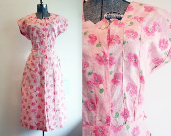 1940's Pink Cotton Floral Dress / Deadstock NOS / Size Medium Large