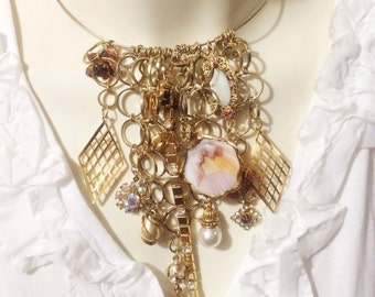 Elegant Bib Necklace, hand made Assemblage from Vintage Jewelry, Statement Necklace